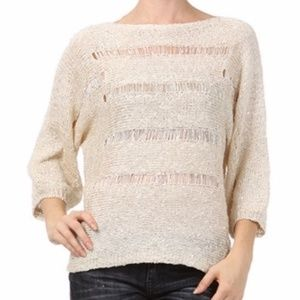 Mystree Womens Cream Pullover Sweater Size Large Latest Fashion Panties